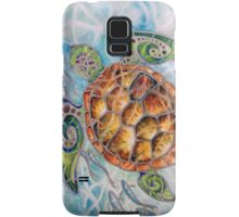 """Honu Island Waters"" Tropical Tribal Sea Turtle Painting by Christie Marie Elder-Ussher Samsung Galaxy Case/Skin"