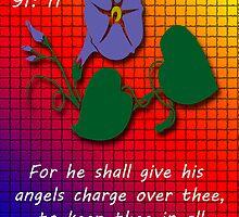 Greeting Card....Psalm 91:11 by Deborah Lazarus