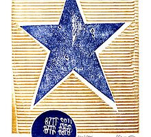 lone star blue texas denim star with golden stripes by Veera Pfaffli