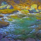 Evening light at the creek by Julia Lesnichy