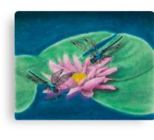 Dragonflies On Water Lily Canvas Print