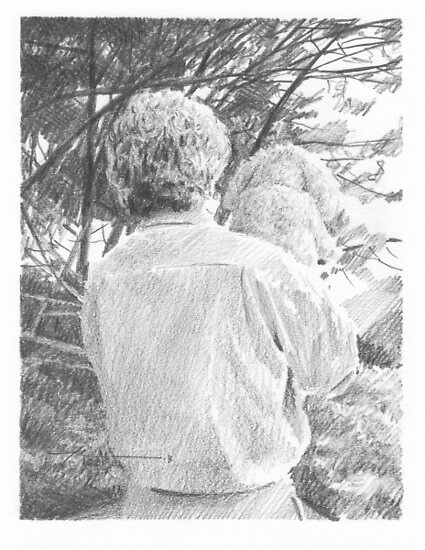 Man and dog outside by Mike Theuer