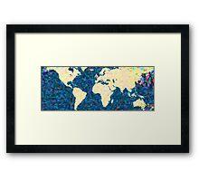 maps pointilism World Map 2 Framed Print