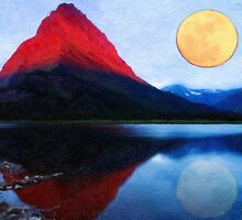 red mountain and the moon by Adam Asar