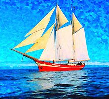 sailing in the cold waters  art by Adam Asar