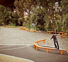 Kyle Muir, Bs Smith at the orange rails. by Marcus Hart