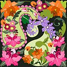 Retro Paisley shapes and Damask Flowers by walstraasart