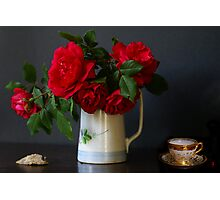 Roses, shell and Mocha cup Photographic Print