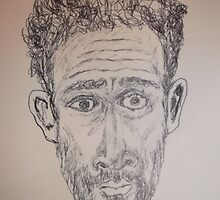 Self-portrait (2of 2) -(150313)- Black biro pen/A5 sketchbook by paulramnora