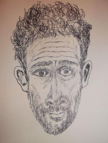 Self-portrait (2of 2) -(150313)- Black biro pen/A5 sketchbook by paulramnora