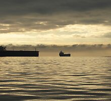 Freighter at Dusk by Heather Eeles