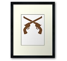 Guns pistols shooters crossed gunslinger Framed Print