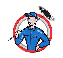 Chimney Sweeper Cleaner Worker Retro by patrimonio