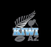 KIWI AZ with New Zealand kiwi bird rugby ball and silver fern by jazzydevil