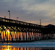 Pier at Garden City Saturday Morning Sunrise  by donaldhovis