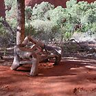 Rustic Bench at Uluru by kenhay