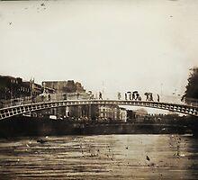 Ha'Penny Bridge in the Rain by Denise Abé