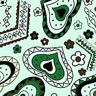 abstract green pattern with hearts by Marishkayu