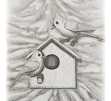 Tufted Tit Mice with Bird House by jkartlife