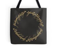 Lord of the Rings - The One Ring (Gold on Black) Tote Bag