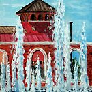 Jacksonville City Hall and and Fountain. by Jim Phillips