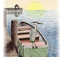 Great Blue Heron on Boat by jkartlife