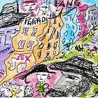 """Bourbon Street. Drawing by Andrzej Goszcz. Author:  Andrzej Goszcz , nickname """" Brown Sugar"""" .  featured in Culture at Large (A to Z). by © Andrzej Goszcz,M.D. Ph.D"""