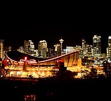 Calgary Alberta Canada Skyline major City saddledome Night Photograph by pictureguy