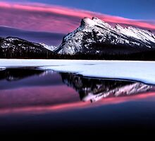 Sunset Mount Rundle Vermillion Lakes in Winter by pictureguy