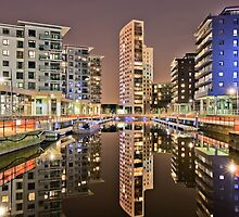 Clarence Dock, Leeds at Night by Ian Wray
