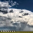 Prairie Road Storm Clouds Saskatchewan Canada field metal granaries by pictureguy