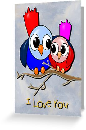 Love Birds - I Love You card by Dennis Melling