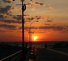 Coney Island Boardwalk Sunset by KarenDinan