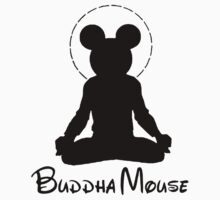 buddha mouse (black font tee & sticker) by derP