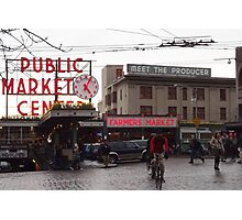 Pike's Public Market Entrance at Dusk - Ta-dah! Photographic Print