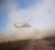 A helicopter landing at the Buen Samaritano hospital by Robert Larson