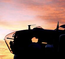 Sunrise over a B17 Heavy Bomber from World War II by aprilann