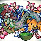 mermaid with plumeria. by resonanteye