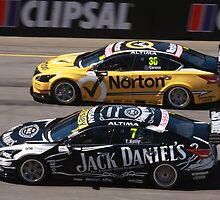 2013 Clipsal 500 Day 4 V8 Supercars - Wheelspin off the line, Caruso & T.Kelly by Stuart Daddow Photography