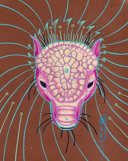 pink pangolin totem art. by resonanteye