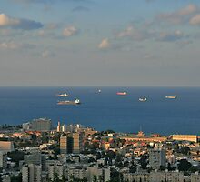 Sailing from  Haifa Bay by Nira Dabush