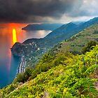 Sunset over Corniglia by Sebastian Wasek