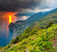 Sunset over Corniglia by Sebastian Wasek