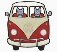 Two Cats in a Bus Road Trip by Ryan Conners