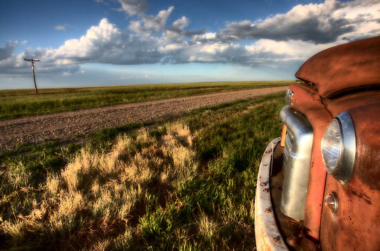 Vintage Farm Trucks Saskatchewan Canada weathered and old by pictureguy