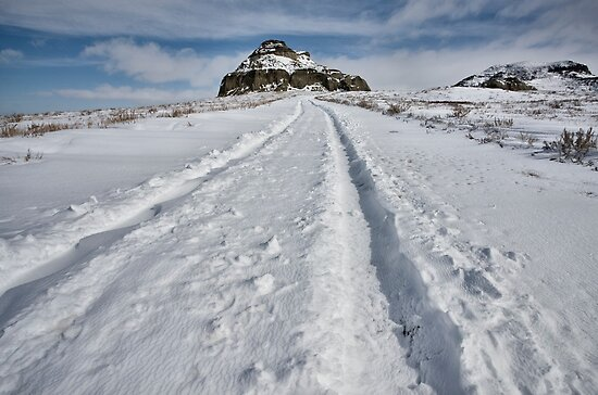 Castle Butte in the Big Muddy Badlands in Winter by pictureguy