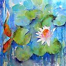 Waterlilies with fish by artbyrachel