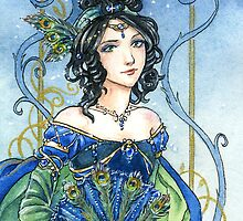 Sapphire Birthstone fairy tale princess card by meredithdillman