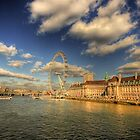 London's South Bank with the London Eye by CharlotteMorse