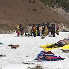 Tourists and locals mingling in the glacier like environment in Sonmarg by ashishagarwal74